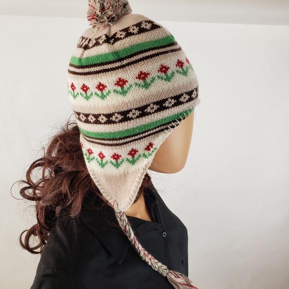 afea377c730 Vintage Floral Handknit Winter Hat Tassle Braids. M 5c6f1243534ef91fa026cf7d